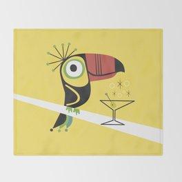 Swank Mid Century Modern Toucan Tiki Bird With Martini Throw Blanket