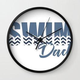 Chevron Swim Dad Wall Clock