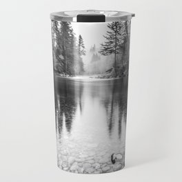 Forest Reflection Lake - Black and White  - Nature Photography Travel Mug
