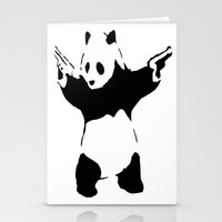 banksy Stationery Cards featuring Banksy Panda1 by vie3