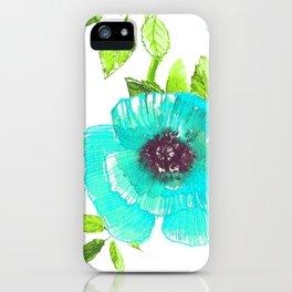Aqua poppy iPhone Case