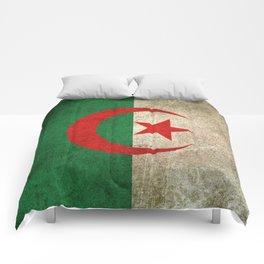 Old and Worn Distressed Vintage Flag of Algeria Comforters
