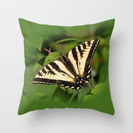 Western Tiger Swallowtail in the Garden Throw Pillow