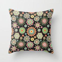Folky Flora Throw Pillow