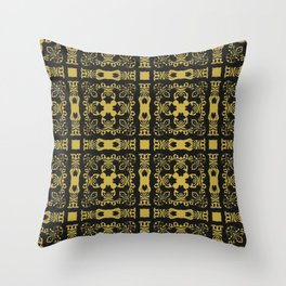 Rococo Celtic Retro Vintage Cross Bold Gold Yellow Print Throw Pillow