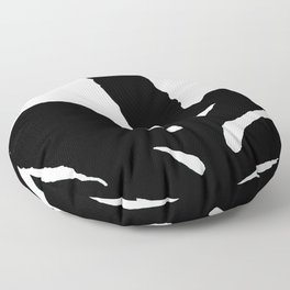 Green Fern Black and White Floor Pillow