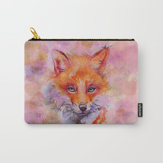 Watercolor colorful Fox Carry-All Pouch