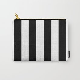 Midnight Black and White Vertical Cabana Tent Stripes Carry-All Pouch
