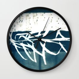 Fragments of the Past (31), art print, collage, blue print, cyanotype print, wall art, wall decor Wall Clock