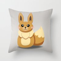 eevee Throw Pillows featuring Evolution Bobbles - Eevee by creativeesc