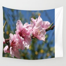 Close Up Peach Tree Blossom Against Blue Sky Wall Tapestry