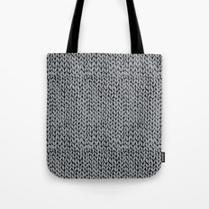 Hand Knit Grey And Black Tote Bag