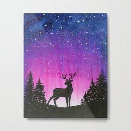 Galaxy Forest Reindeer Metal Print