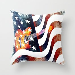 Country Music Guitar And American Flag By Annie Zeno  Throw Pillow