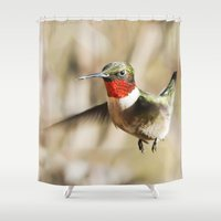 ruby Shower Curtains featuring Ruby by Bird Junker
