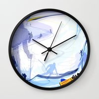 skiing Wall Clocks featuring Downhill Skiing by Robin Curtiss
