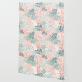 Festive, Floral Prints, Teal, Peach, Coral, Abstract Art, Colour Prints Wallpaper