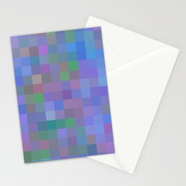 geometric square pixel pattern abstract in purple blue pink Stationery Cards
