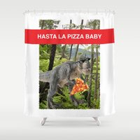 trex Shower Curtains featuring PIZZA TREX!! by anthonykun
