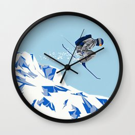 Airborn Skier Flying Down the Ski Slopes Wall Clock