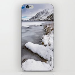 Snowfall at Ogwen Lake Snowdonia iPhone Skin