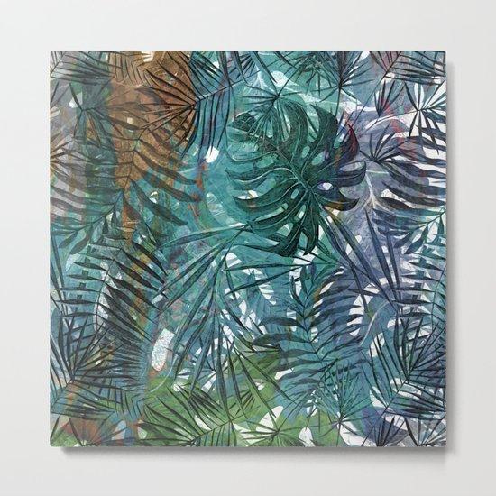 Aloha- Tropical Palm Leaves and Monstera Leaf Garden Metal Print
