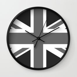 UK Flag, High Quality in grayscale Wall Clock