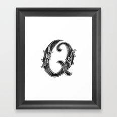 Leaf Script Q Framed Art Print