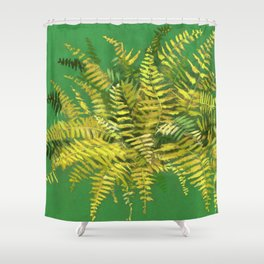 Golden Fern, Floral Painting Green Yellow  Shower Curtain