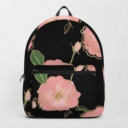 Elegant Pink & Gold Watercolor Roses Black Design Backpack