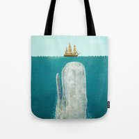 red Tote Bags featuring The Whale  by Terry Fan