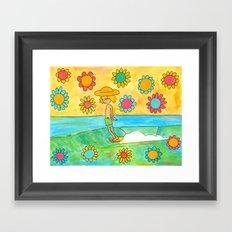 hang 10 groovy surf dude flower power Framed Art Print