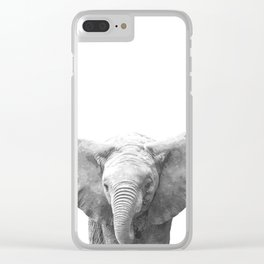Black and White Baby Elephant Clear iPhone Case
