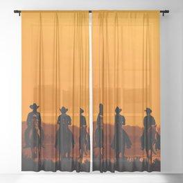 Wild West sunset - Cowboy Men horse riding at sunset Vintage west vintage illustration Sheer Curtain