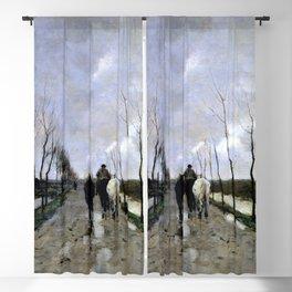 12,000pixel-500dpi - Anton Rudolf Mauve - A Dutch Road - Digital Remastered Edition Blackout Curtain