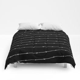 Cool black and white barbed wire pattern Comforters