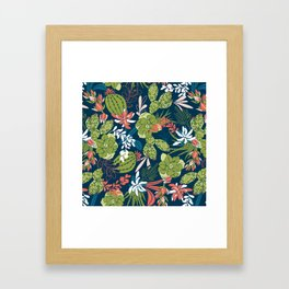 Succulent Garden Navy Framed Art Print