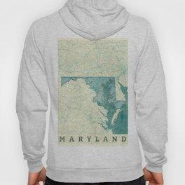 Maryland State Map Blue Vintage Hoody