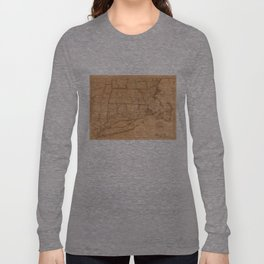 Vintage Map of New England States (1843) Long Sleeve T-shirt