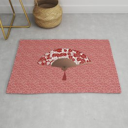 Japanese Fan in Leaf Print, Dark Red and White Rug