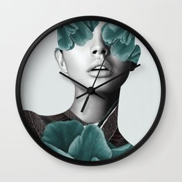 Floral Portrait (woman) Wall Clock