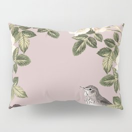 Birds and the Bees Pink Berry Pillow Sham