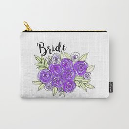 Bride Wedding Bridal Purple Violet Lavender Roses Watercolor Carry-All Pouch