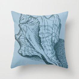 Vintage Sea Shell on Blue II Throw Pillow