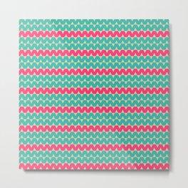 Blue & Pink Geometric Zig-Zag Pattern Metal Print