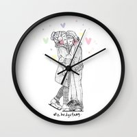 larry stylinson Wall Clocks featuring HNY LARRY  by otp-hedgefrog