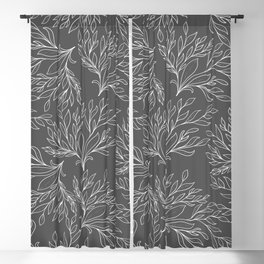 Modern hand drawn gray white leaves pattern Blackout Curtain