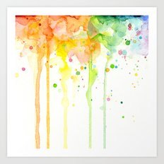 Rainbow Watercolor Pattern Texture Art Print