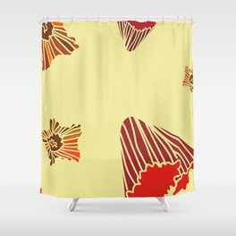 Snazzy Fall Flowers on Creme Shower Curtain