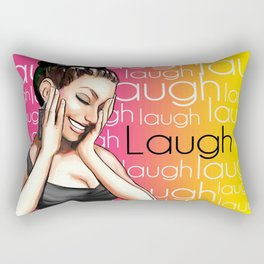 Retro Pinup Girl Laugh Typography Rectangular Pillow